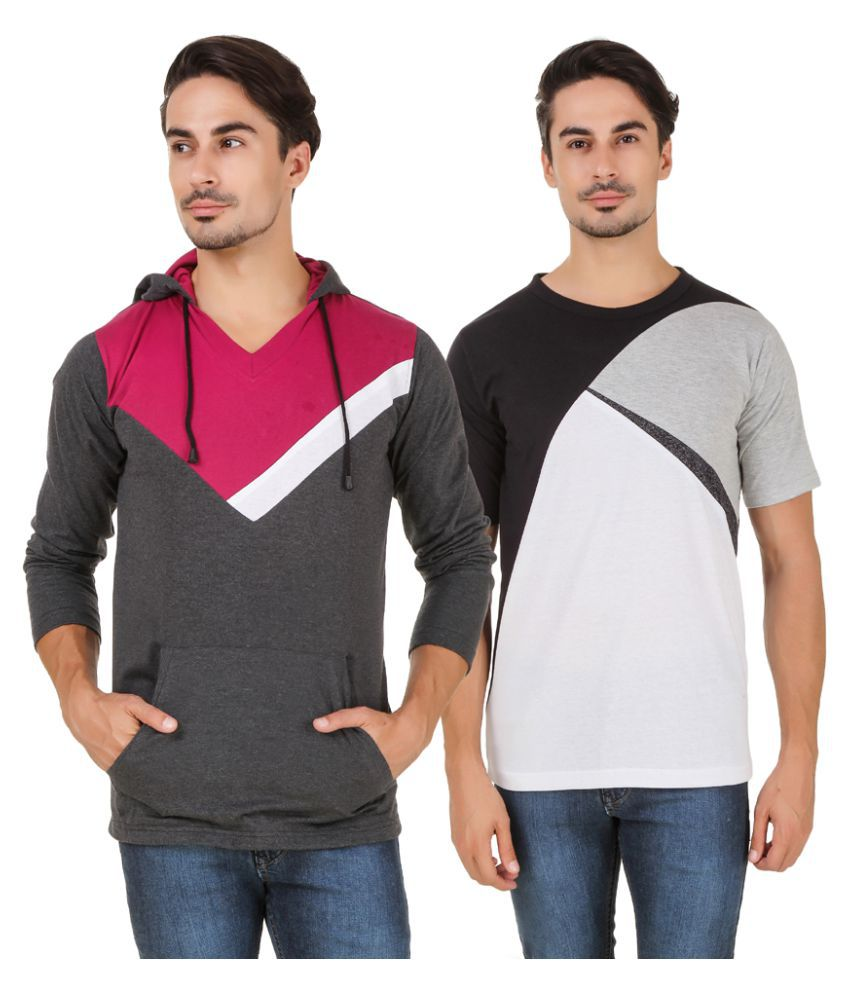 Aurelio Marco Multi Hooded T-Shirt Pack of 2