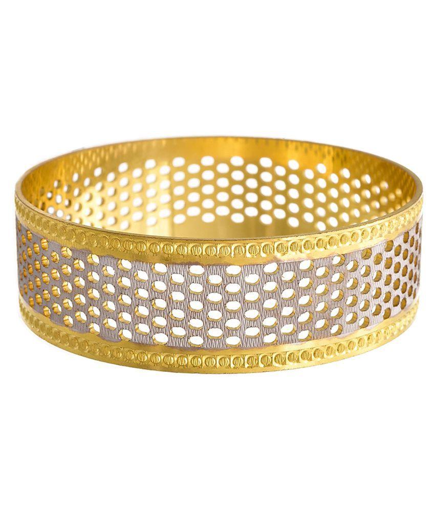 JFL- Traditional Ethnic Dual Tone One Gram Gold Plated Fusion Designer Bangle / Broad Kada with Jali Work for Women & Girls.