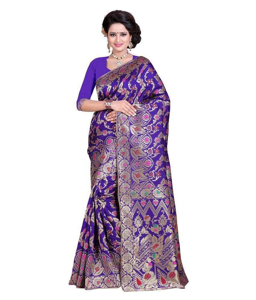 Fashions World Purple Banarasi Silk Saree