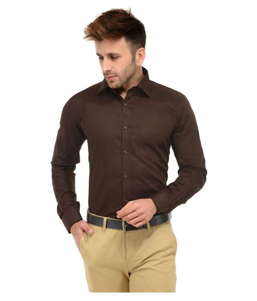 Unique for men brown formal slim fit shirt buy unique for Unusual shirts for men