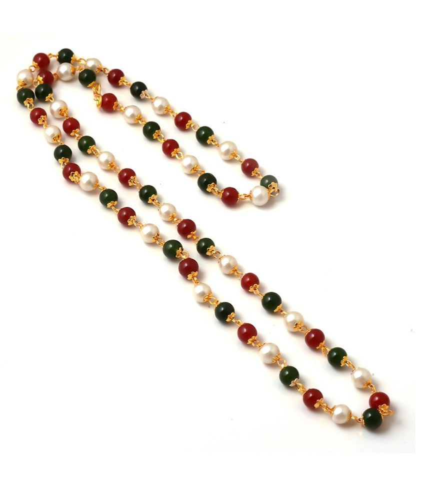 Pearl Jewellery Necklace >> Multicolour Gold Plated Vintage Handmade Ruby Pearl Beads Chain Necklace Matar Mala - Buy ...