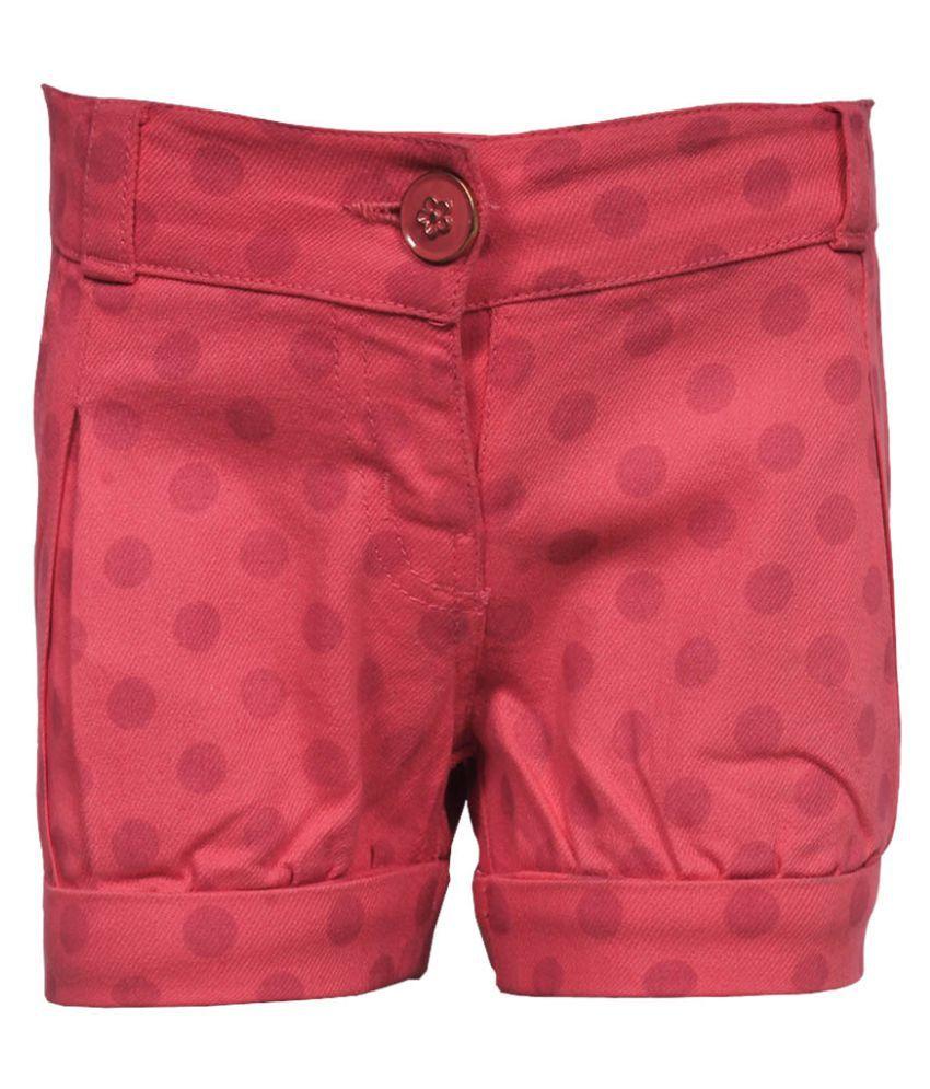 Gron Stockholm Girls Self Design Pink Shorts (GS-0027-BG-PINK-9-12M, 9-12 Months)