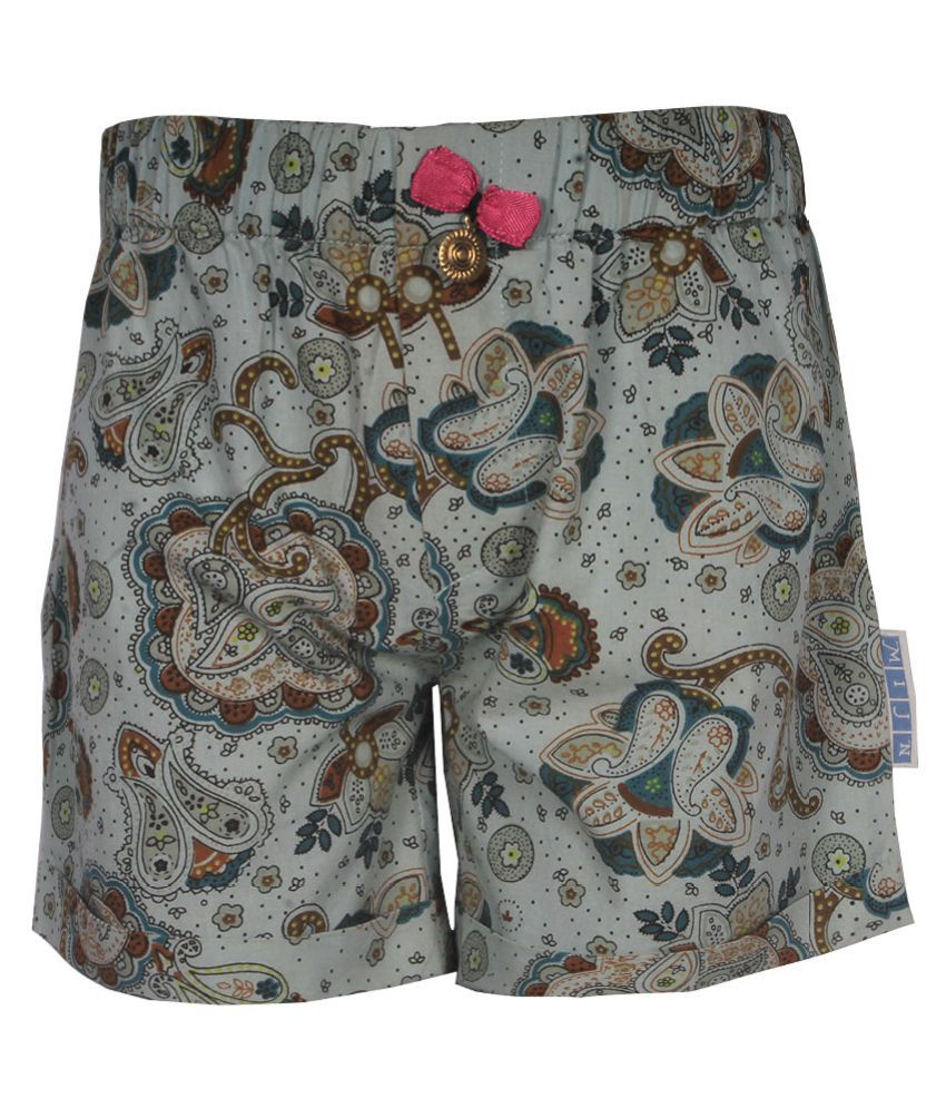 Gron Stockholm Girls Self Design Multicolor Shorts (MS-2-CG-GREEN-MULTI-12Y, 12 Years)
