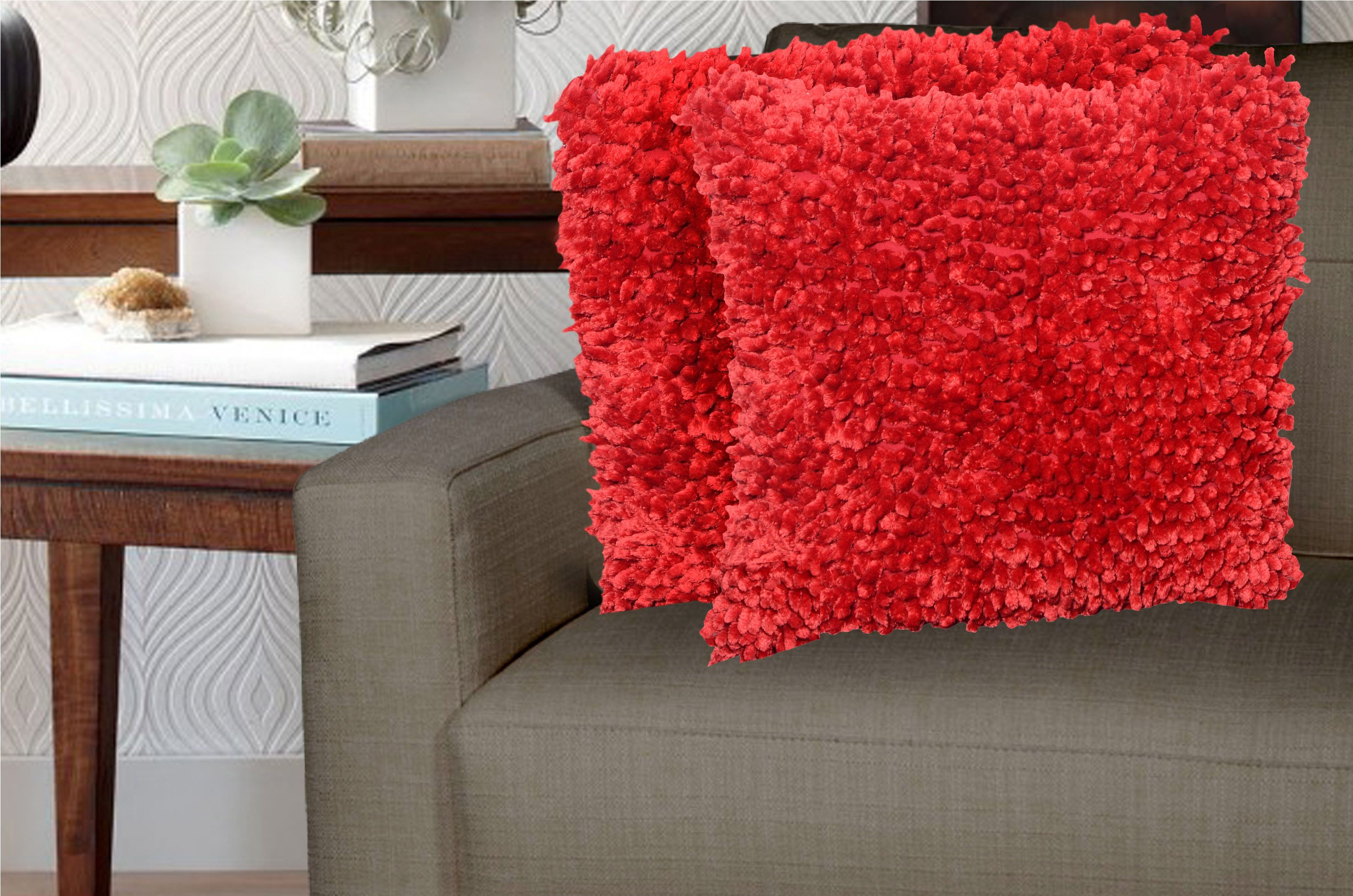 Avira Home Set of 2 Red Polyester Filled Cushion