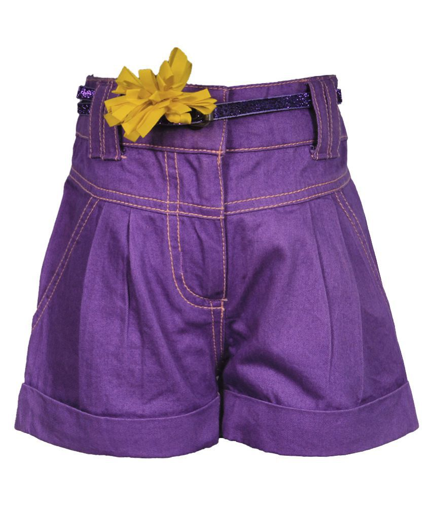 Gron Stockholm Girls Self Design Purple Shorts (GS-0479-CG-PURPLE-4-5Y, 4-5 Years)