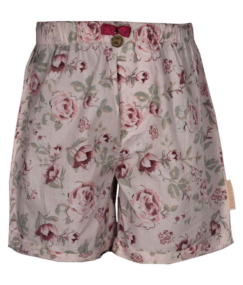 Gron Stockholm Girls Self Design Pink Shorts (MS-2-CG-PINK-FLOREL-10Y, 10 Years)
