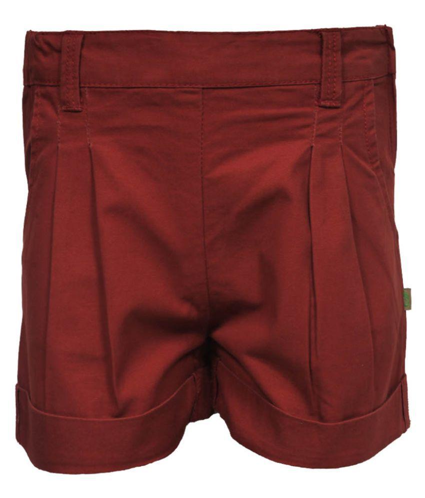 Gron Stockholm Girls Self Design Brown Shorts (GS-0475-CG-BROWN-5-6Y, 5-6 Years)