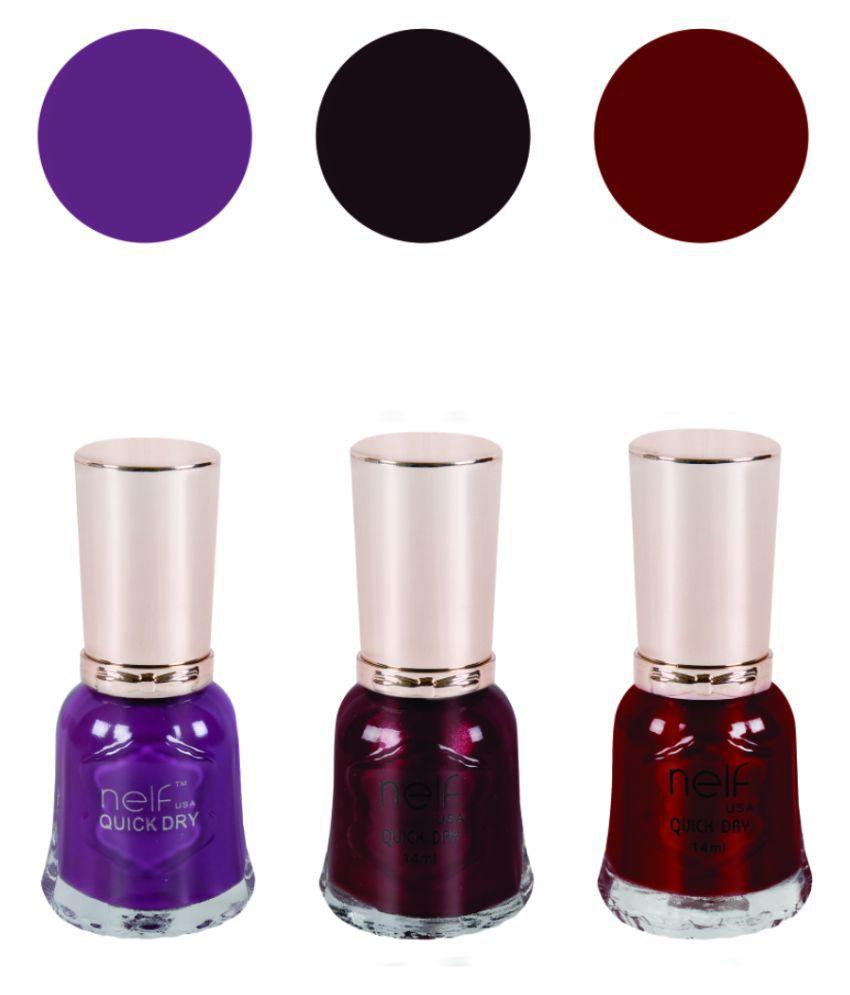 Nelf USA Nail Polish Purple::Brown::Maroon Glossy 12 ml Pack of 3