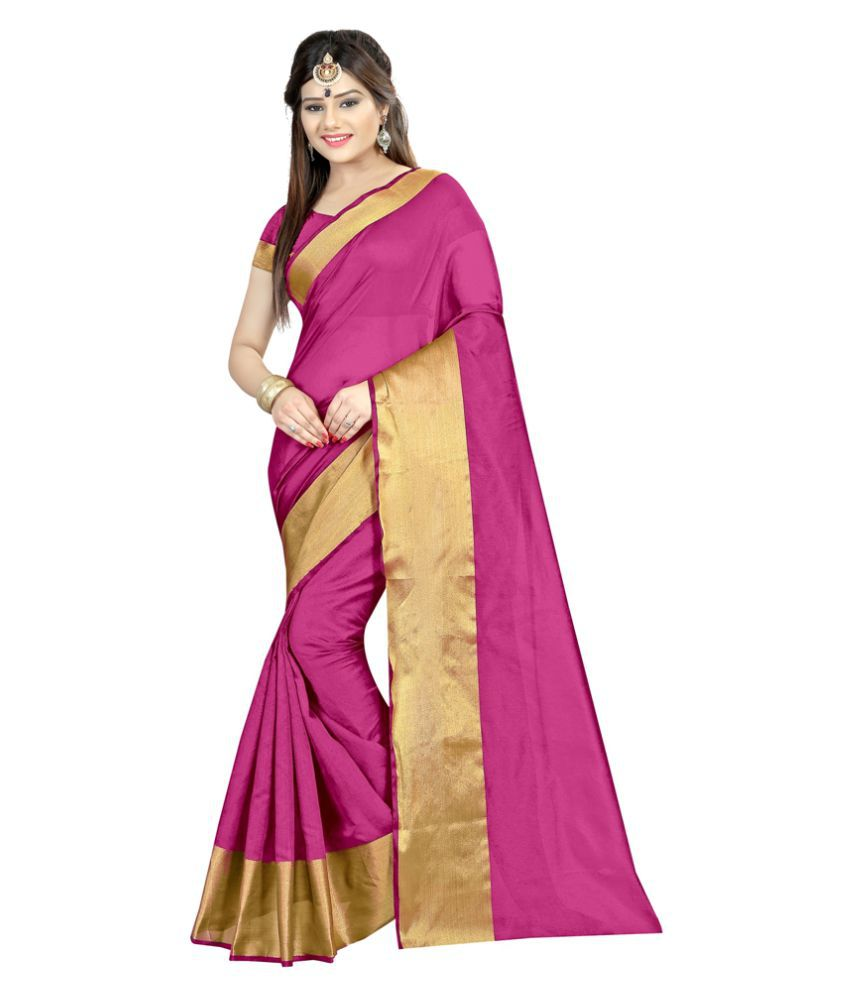 Radiance Star Pink Cotton Silk Saree