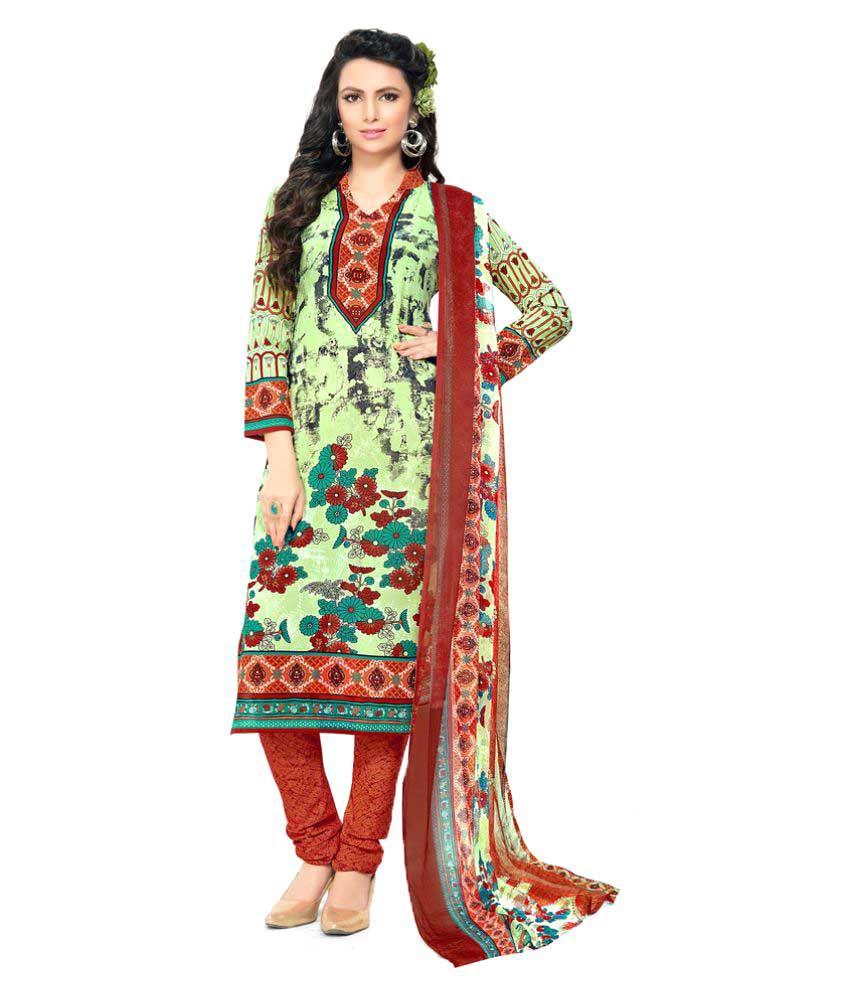 Urban Naari Green Cotton Blend Dress Material