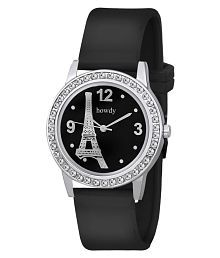 Howdy Crystal Studded Paris Black Analog Watch With Silicone Strap