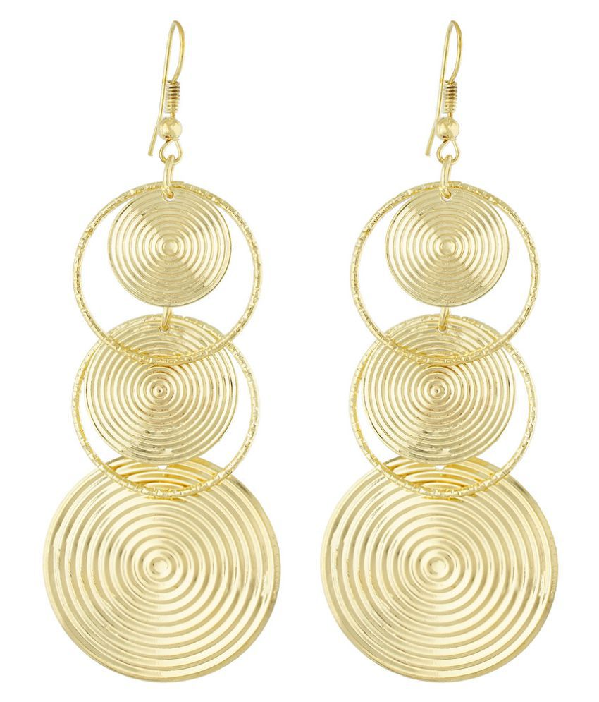 One Stop Fashion Gold Colour Round Shape Ear Long Hangings for Girls and Womens
