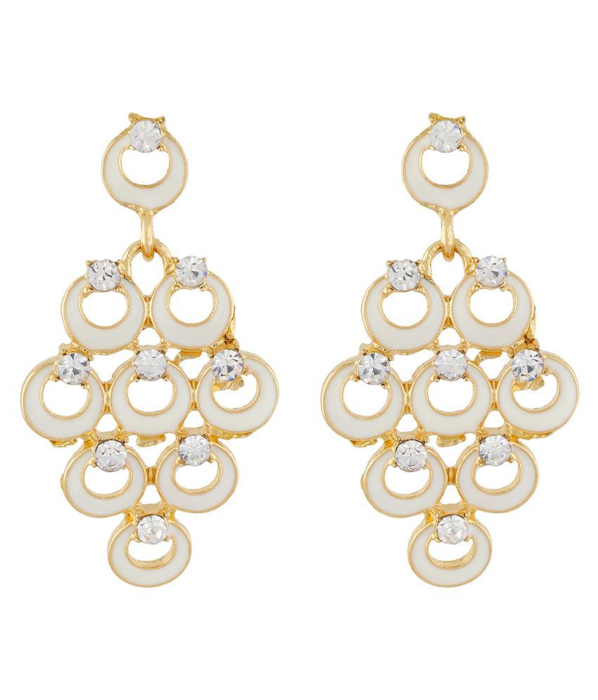 One Stop Fashion White Colour Bunch of Circles Shape Ear Hanging for Girls and Womens
