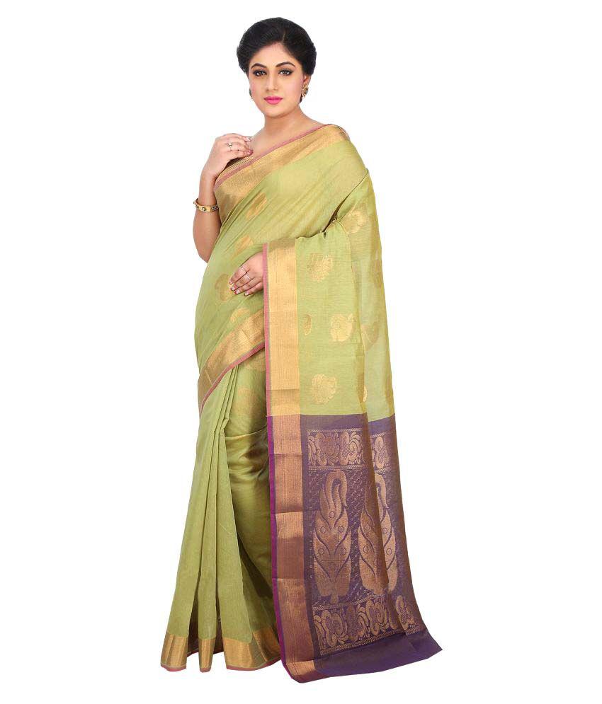 Platinaa Green Cotton Silk Saree
