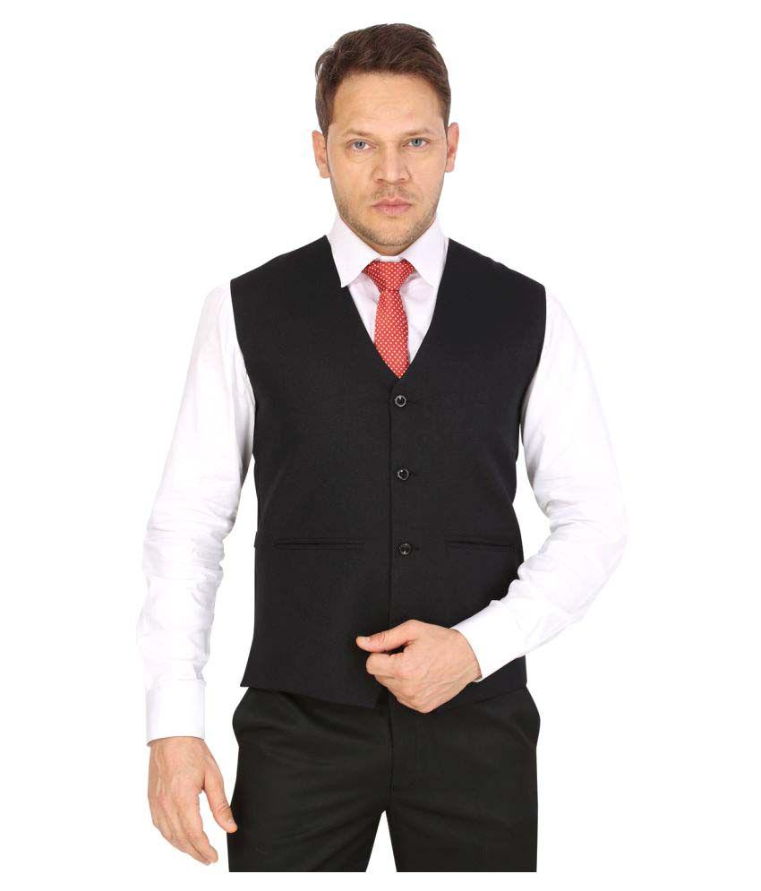 Eden Rose Black Solid Formal Waistcoats
