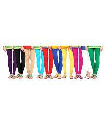 Aashish Garments Cotton Lycra Pack of 10 Leggings