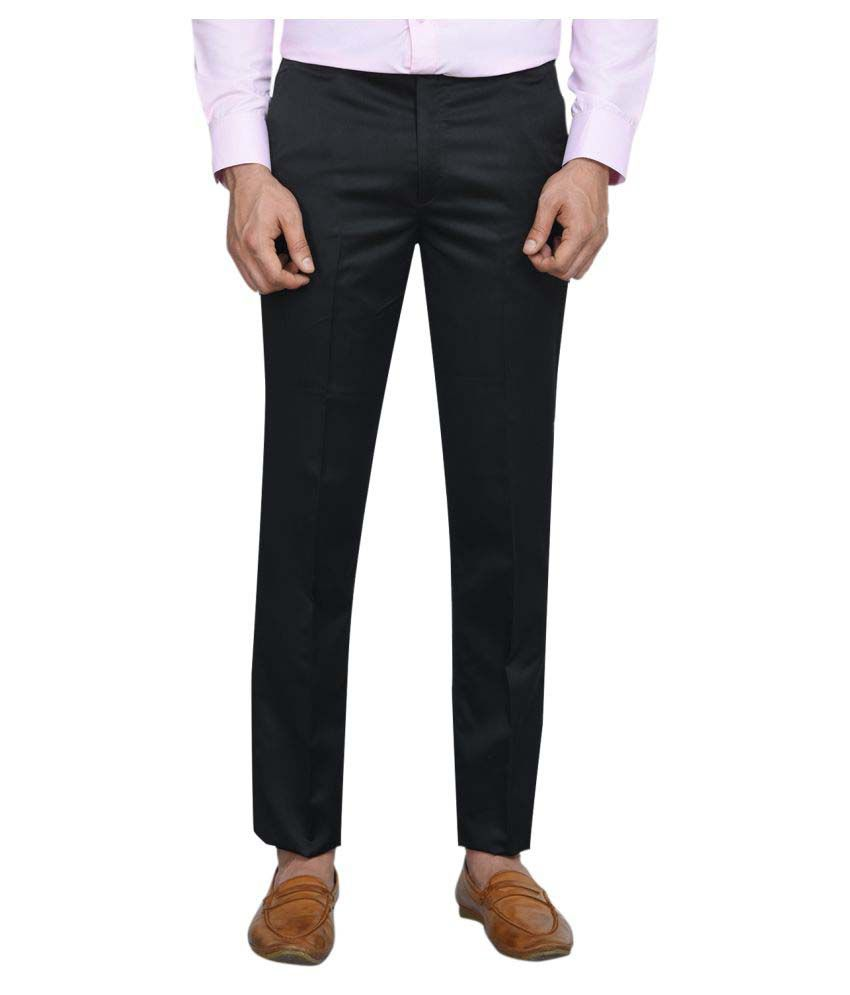 Shaurya-F Black Regular -Fit Flat Trousers