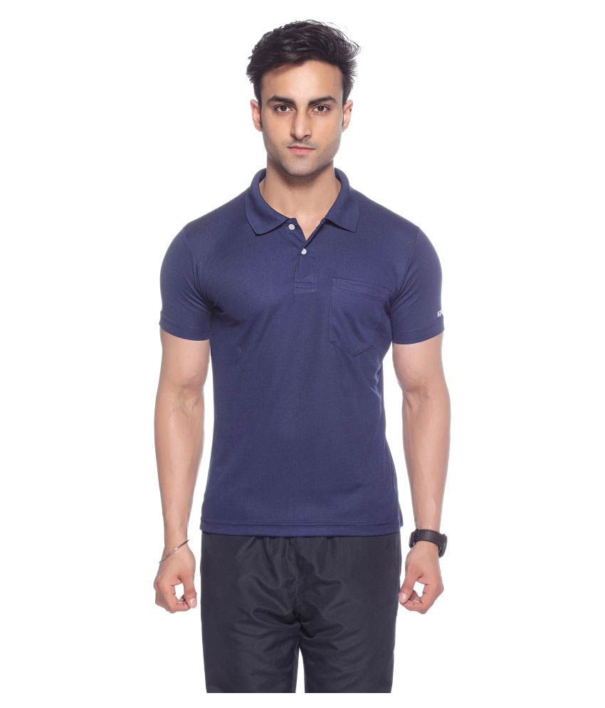 Sport Sun Navy Regular Fit Polo T Shirt