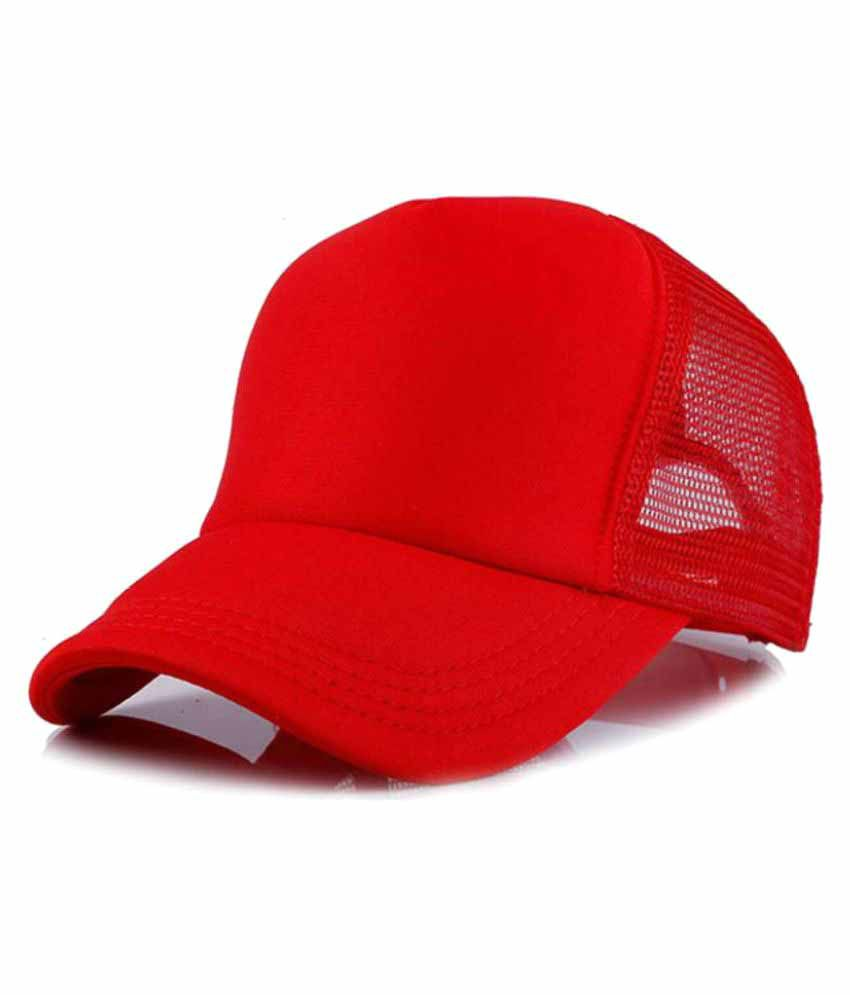 7002532b5cf Solid Plain Red Half Net Cap In Baseball Style