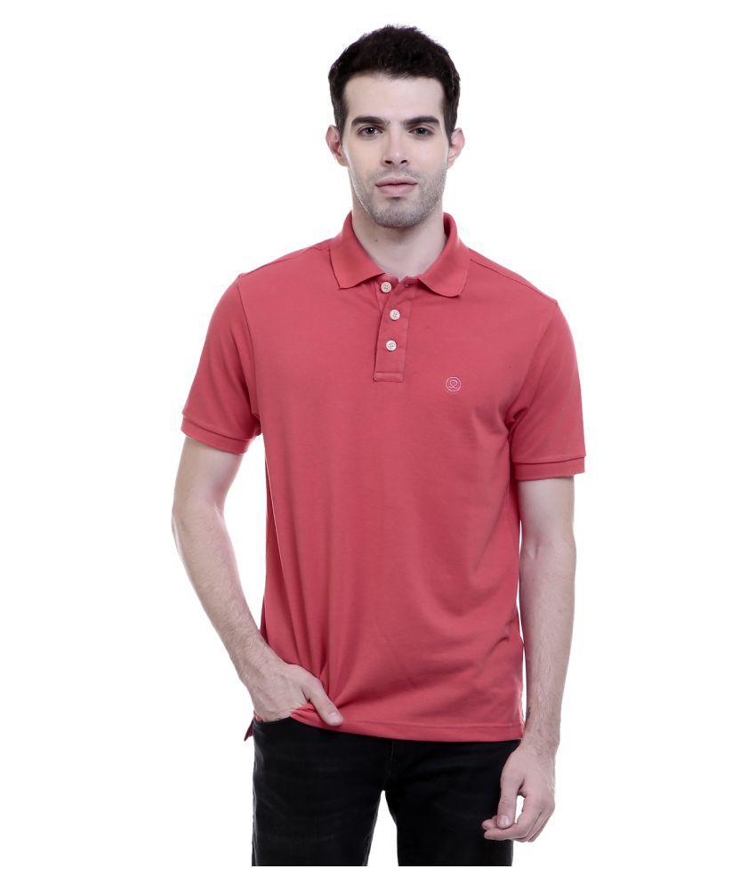 Chkokko Peach Regular Fit Polo T Shirt