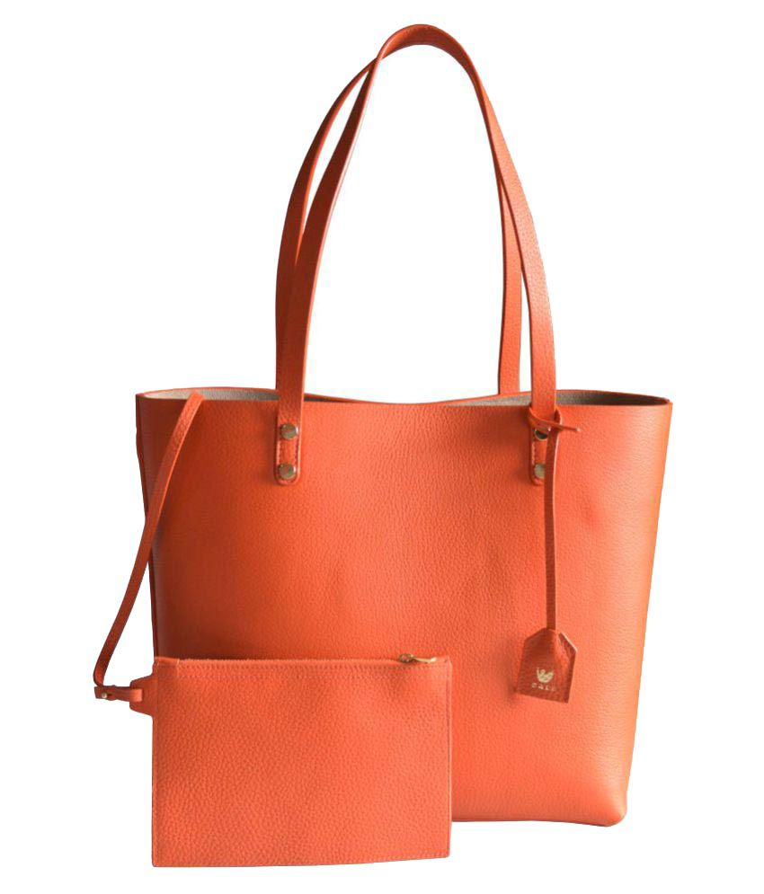 Cali Orange Pure Leather Tote Bag