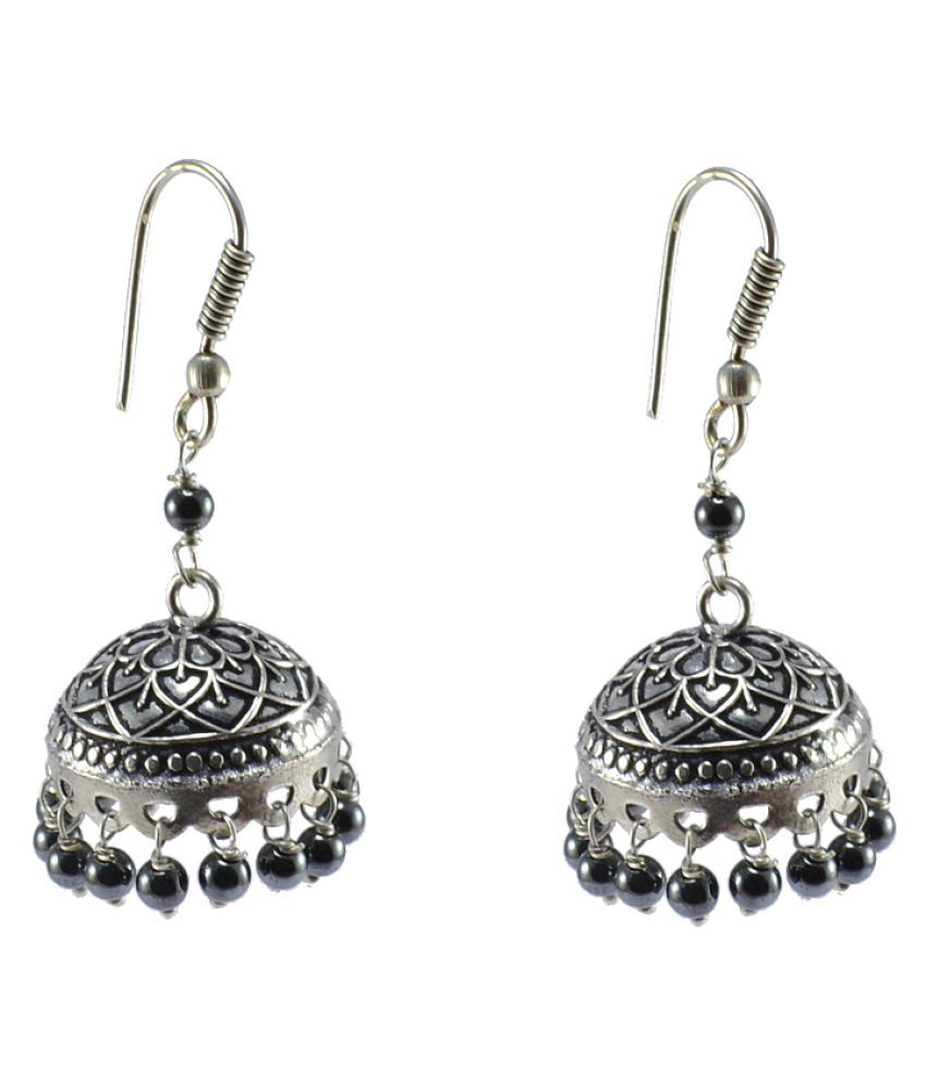 Hematite Earrings-Large Jhumkas-Ethnic -Dome Sahpe Earring-Silver Tribal Jhumkis-Indian JewelryBy Silvesto India PG-105494