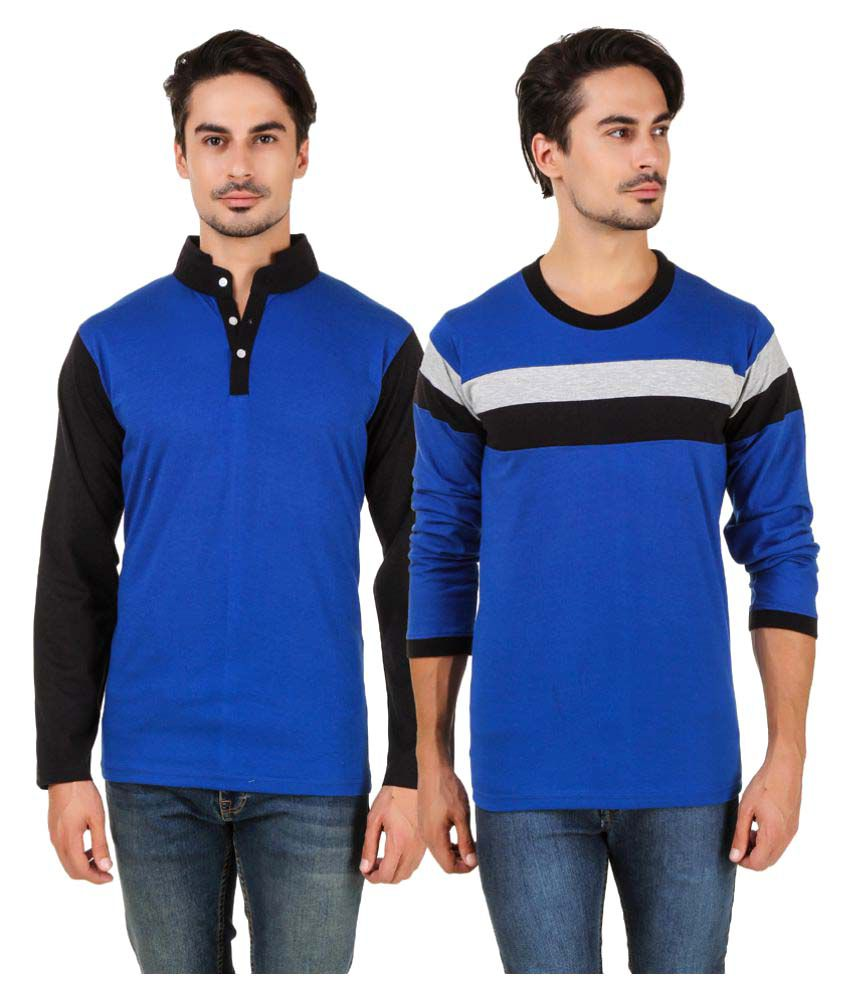 Aurelio Marco Blue Round T-Shirt Pack of 2