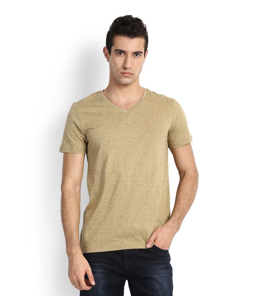 United Colors of Benetton Yellow V-Neck T-Shirt