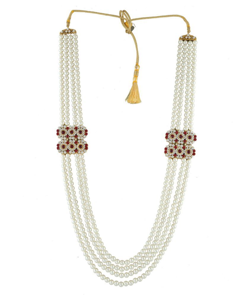 Anuradha Art Red White Colour Designer Classy Trendy Look Dulha Necklace Groom Necklace For Men