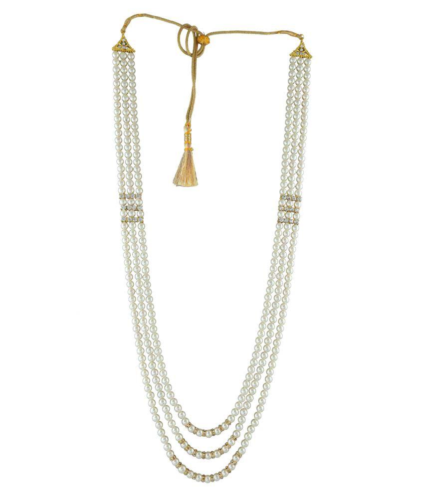 Anuradha Art Golden Finish Classy Three Layers Wonderful Classy Beads Stylish Dulha Necklace Groom Necklace For Men