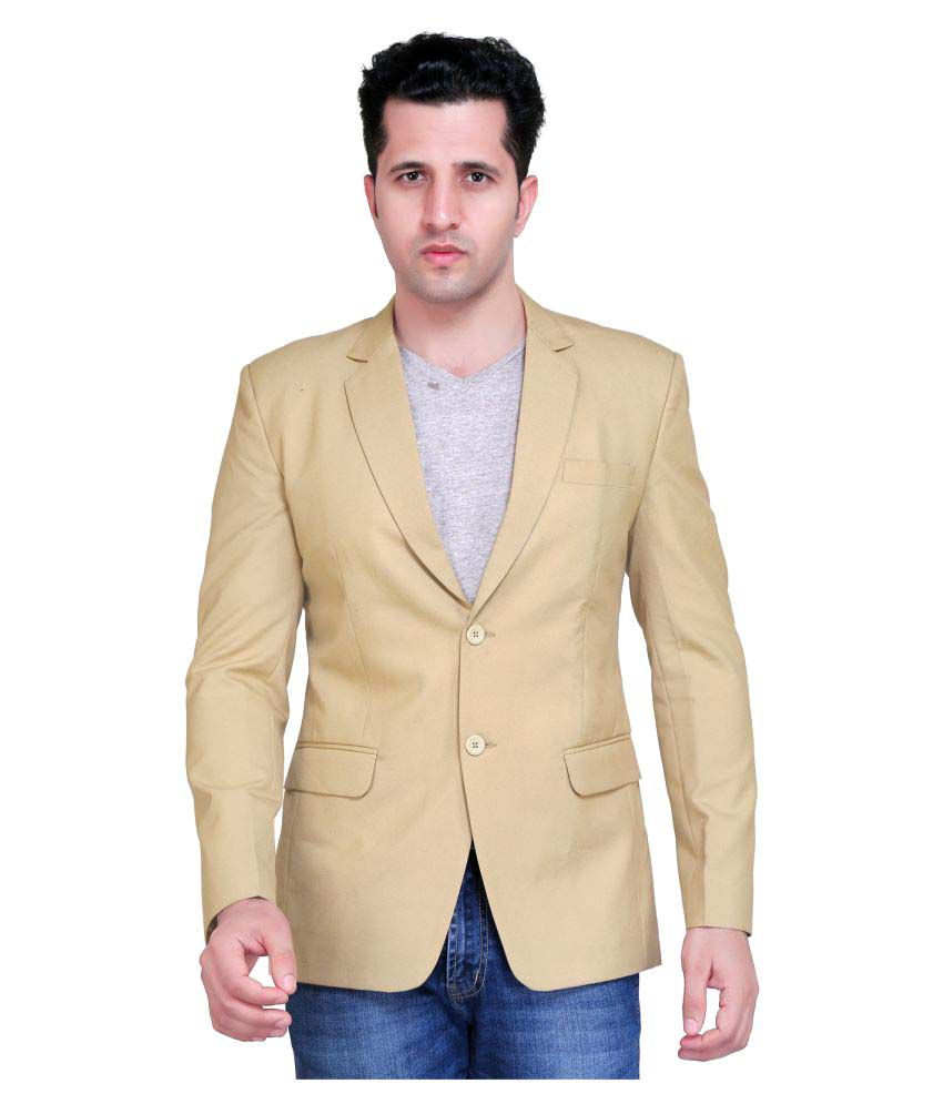 Nu Abc Garments Beige Solid Casual Blazers