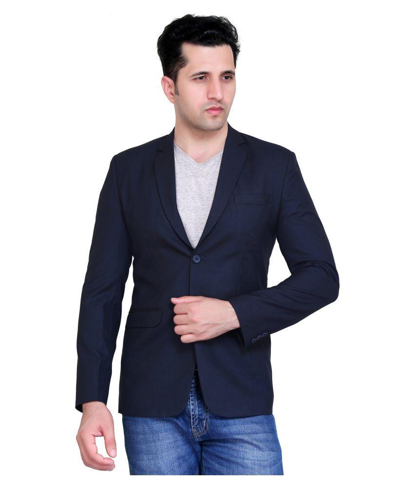 nu abc garments Blue Solid Casual Blazers