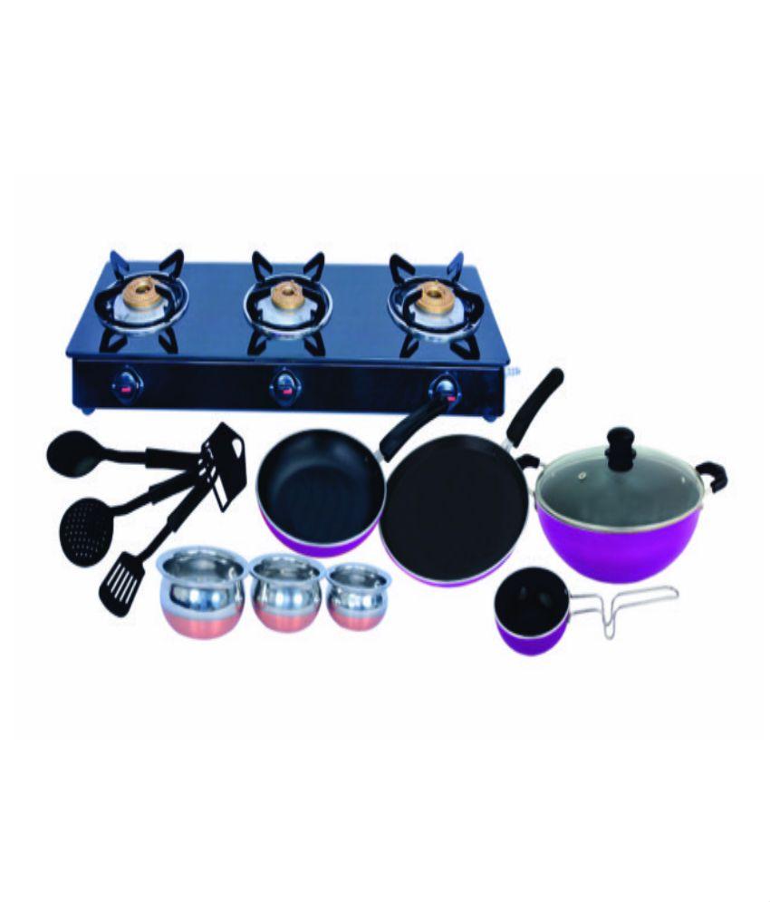 Surya Accent 3 Burner Glasstop Gas Stove + Free 11 Pc Non Stick Bumper Combo