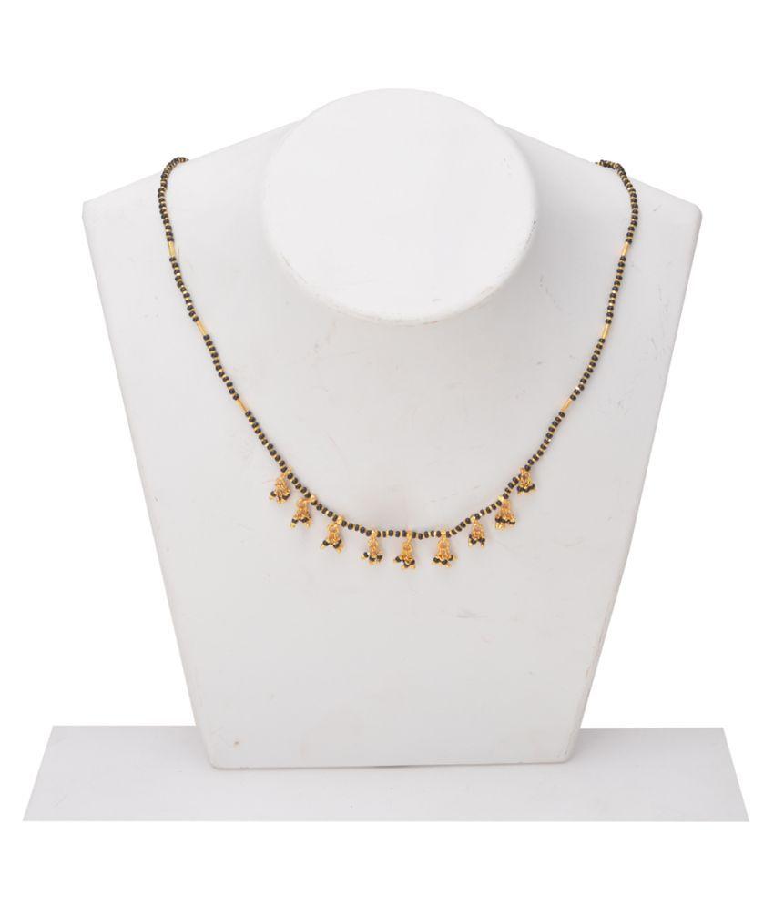 M4U Fashion Glitzy Black  Beads Golden Mangalsutra