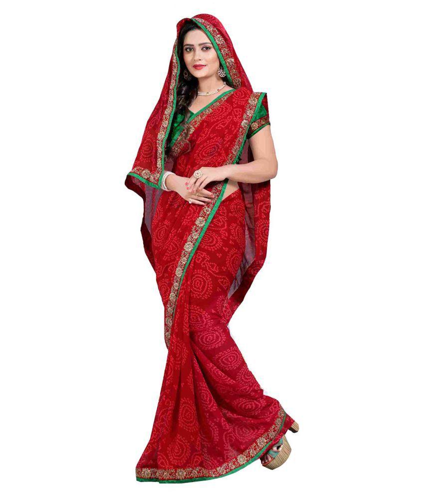 Zofey Bollywood Designer Sarees Red Chiffon Saree
