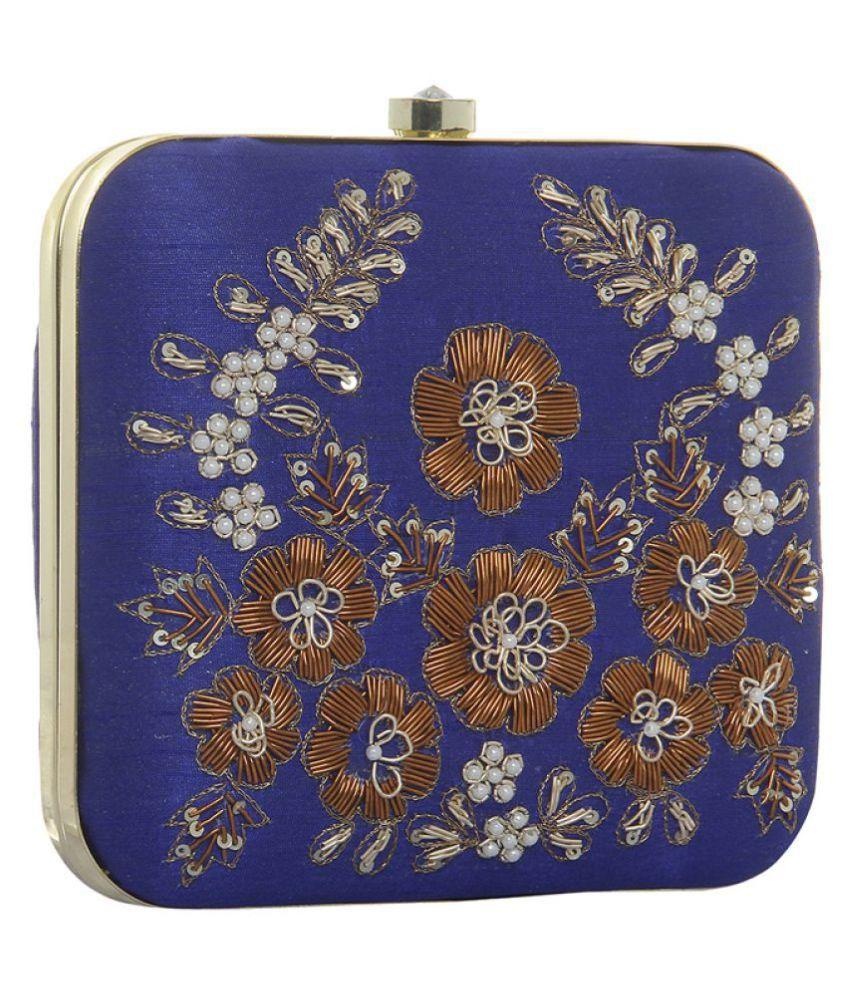 Fashinos Blue Silk Box Clutch