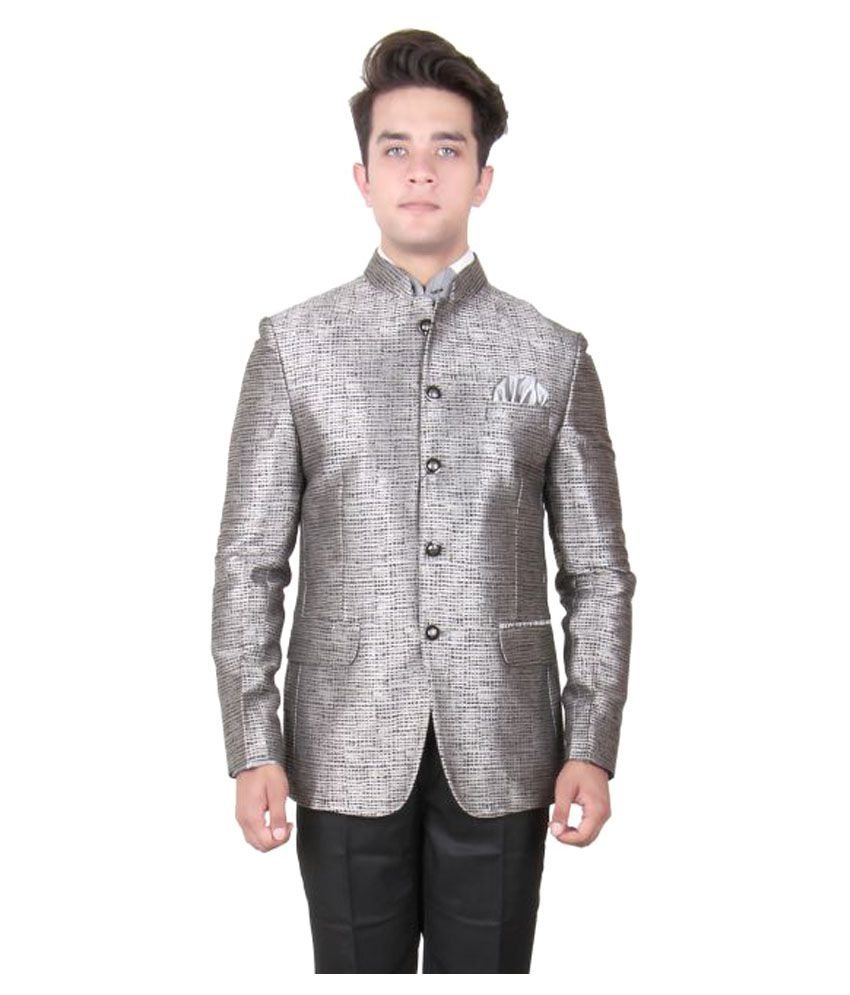 La Rainbow Silver Self Design Party Blazers