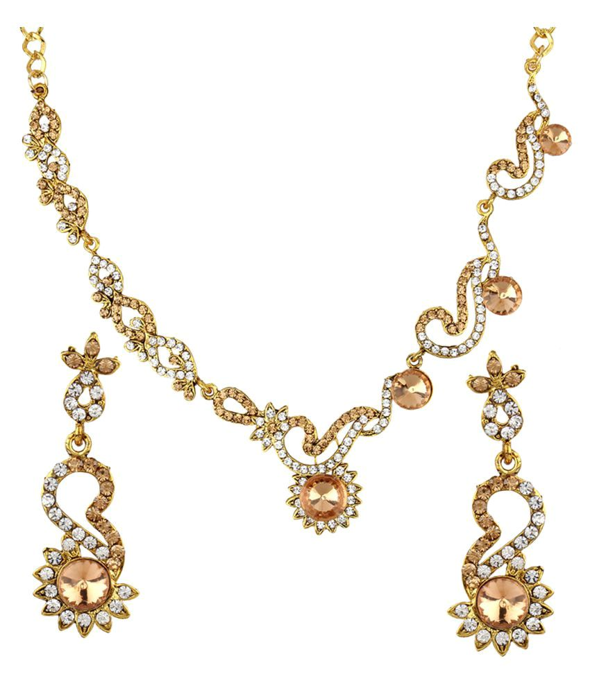 Penny Jewels Traditional Ethnic Gold Plated Fashion Designer Comfy Necklace Set For Women & Girls