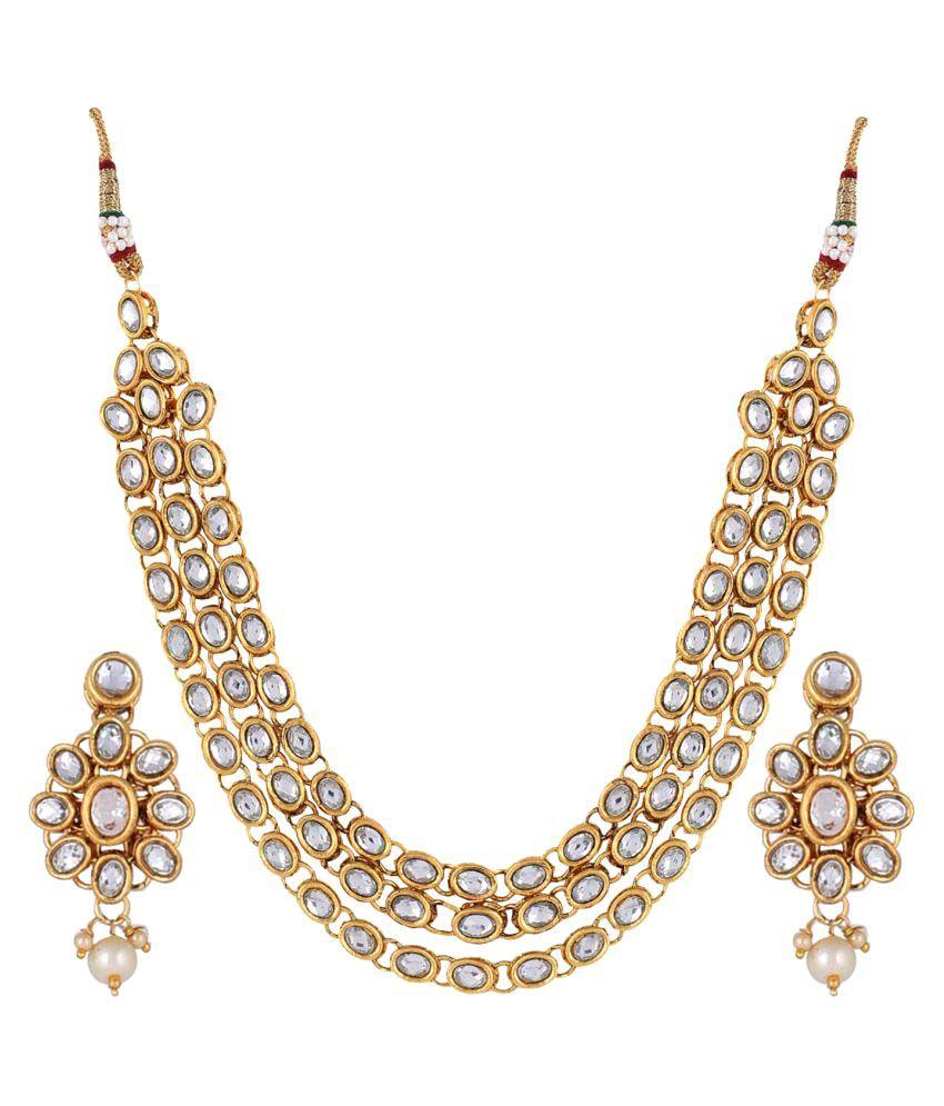Aradhya Kundan Jewellery Set / Necklace Set With Earrings For ...