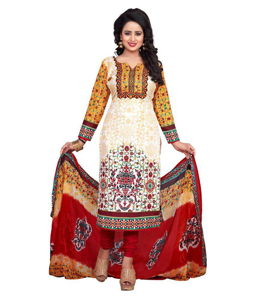 Fabkarts Fashion Multicoloured Cotton Dress Material