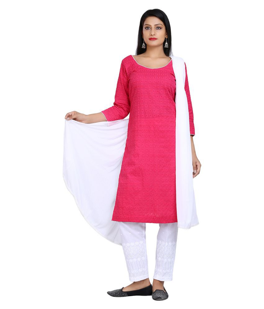 Aavaya Fashion Red Cotton Straight Stitched Suit