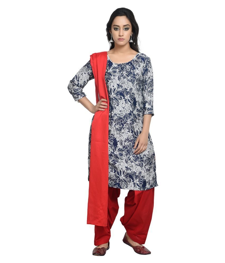 Maahi Multicoloured Cotton Straight Stitched Suit