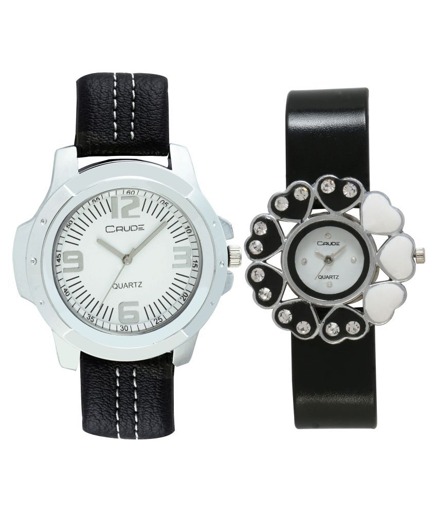 Crude Black Leather Analog Watch - Pack of 2