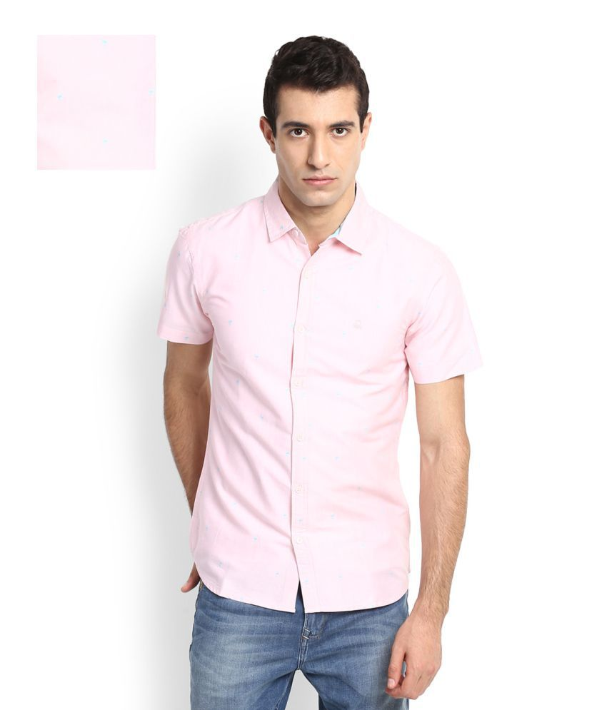 United Colors of Benetton Pink Casual Slim Fit Shirt