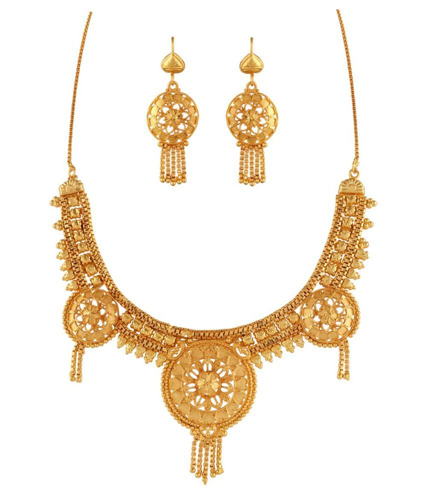 Variation Golden Brass Necklace Set