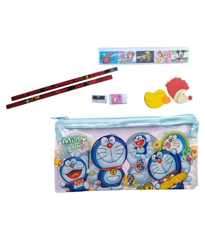 Doraemon character transparent art plastic pencil pouch set of 12