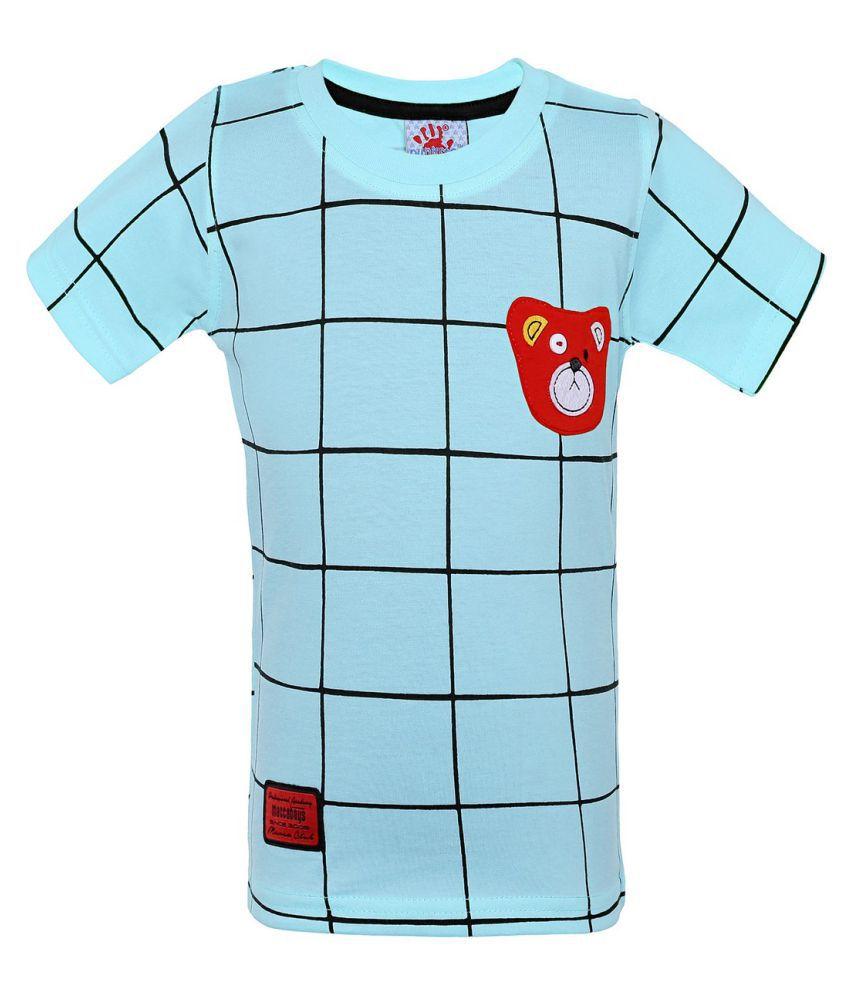 Punkster Blue Graphic Print 100% Cotton T-Shirt For Boys