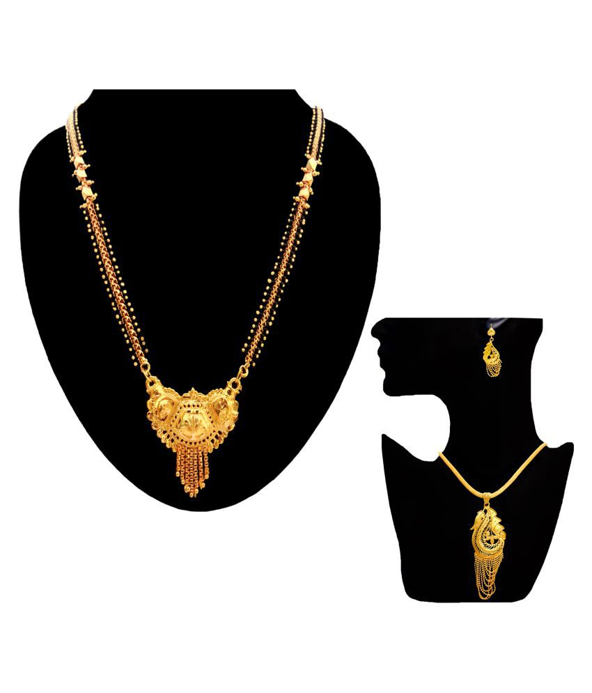 Orun Blues Gold Plated Brass Mangalsutra With Pendant Earring Set