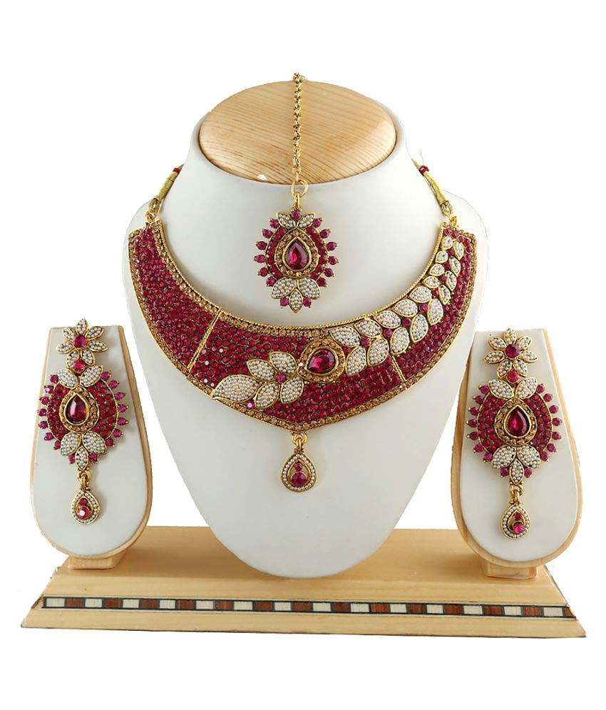 Anuradha Art Presenting This Golden Finish Dazzling Studded Stone Traditional Necklace Set For Women/Girls