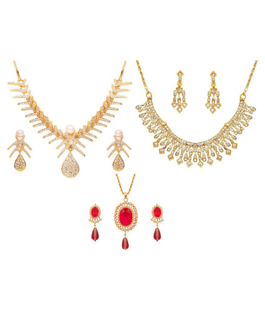 Touchstone Party Wear Collection Of Two Necklace Set And A Pendant Set